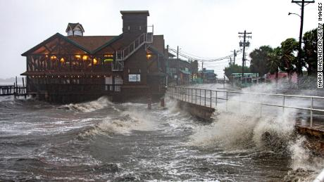 Tropical Storm Elsa whips Cedar Key, Florida, on Wednesday morning.